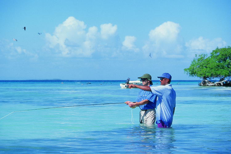Flats fly casting for bonefish in Belize