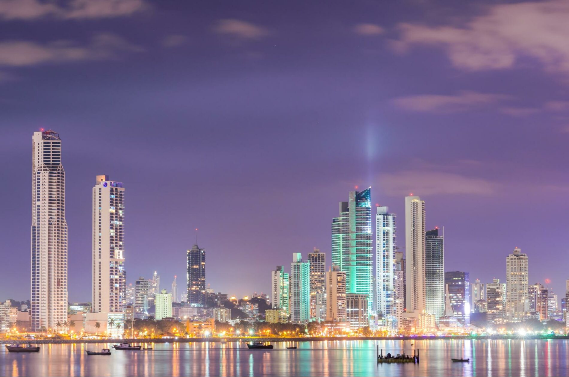 Night Skyline of Panama City which sits on the Pacific coast, close to the Panama Canal